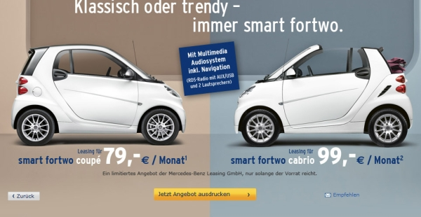 smart fortwo ab 79 euro leasen. Black Bedroom Furniture Sets. Home Design Ideas